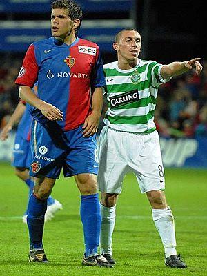 Benjamin Huggel - Huggel (left) in action for Basel against Celtic Glasgow, in the Uhrencup, in July 2007