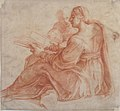 Seated Sibyl and Attendant Genius (recto); Study of the Head of a Horse in Profile (verso) MET 62.120.7 RECTO.jpg