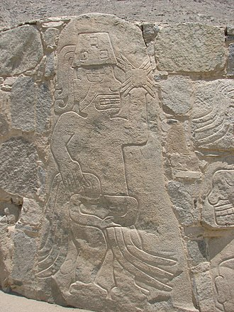 Cerro Sechín - Relief of a warrior at Cerro Sechin.