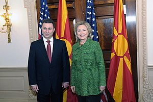 Nikola Gruevski - Gruevski and U.S. Secretary of State Hillary Clinton, Washington, D.C., 16 February 2011