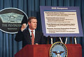 Secretary of Defense William S. Cohen emphasizes a point during a Pentagon press briefing on November 25, 1997.JPEG