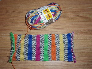 Variegated yarn - Self-striping variegated yarn is frequently used in sock knitting