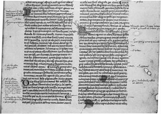 Seneca the Elder - Controversiae, 13th/14th century manuscript with handwritten corrections and marginal notes by the early humanist Albertino Mussato