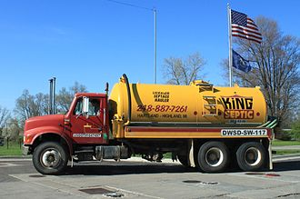 Fecal sludge management - Vacuum truck to transport septage, Highland, Michigan