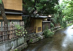 Shirakawa Canal in Gion, Higashiyama-ku, showing the rear of some ochaya