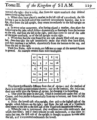 A page from Simon de la Loubere's Du Royaume de Siam (1691) showcasing the Indian method of constructing an odd magic square. Siamese Square.jpg