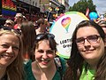 Sian Berry, Amelia Womack, and Aimee Challenor, at Pride in London 2017.jpg