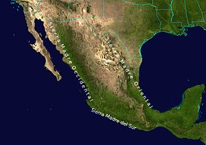 North American Cordillera - Physiographic divisions of Mexico include three mountain systems: the Sierra Madre Oriental, the Sierra Madre Occidental, and the Sierra Madre del Sur (which is an extension of the Peninsular Ranges).