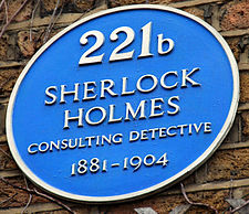 Blue Plaque with words 221B Baker Street, London