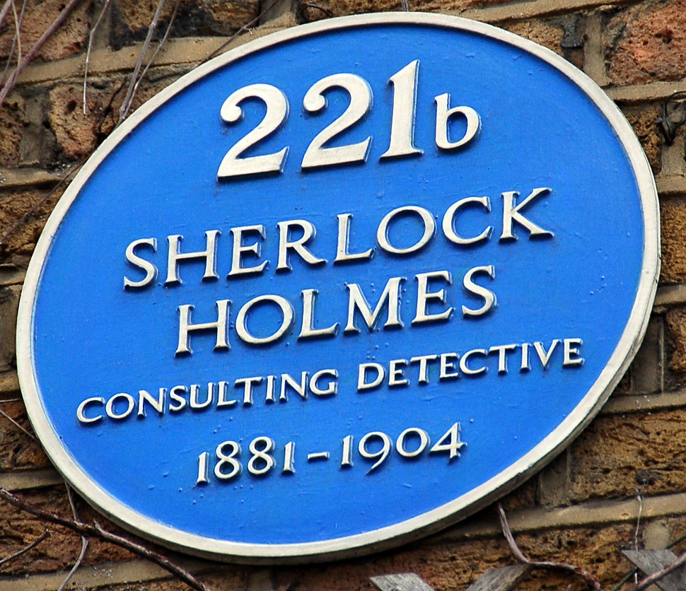 Sign at Sherlock Holmes Museum in Baker St 221b
