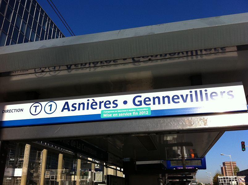 Signalétique du nouveau terminus posée en septembre 2012 à l'arrêt Hôtel de Ville de La Courneuve
