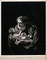 Simeon holds the Christ child, who is holding an apple. Mezz Wellcome V0034650.jpg
