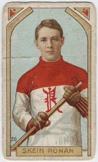 Skene Ronan - A cigarette pack hockey card showing Ronan in the Renfrew uniform.