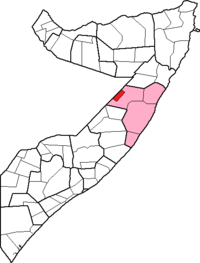 Location of Galdogob district within Mudug region