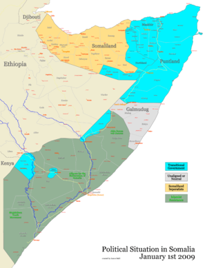 2009 timeline of the War in Somalia - Situation in Somalia on January 1, 2009