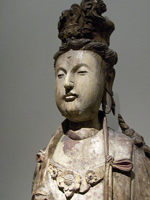 A wooden Bodhisattva from the Song dynasty (960-1279). Song-Bodhisattva1.jpg