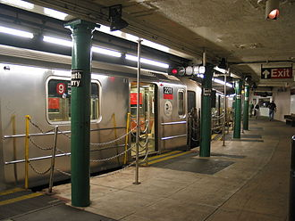 9 (New York City Subway service) - A train made of R62A cars in 9 service at South Ferry in 2004.