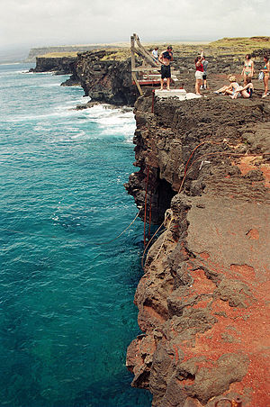 Ka Lae - Ka Lae Point, with people getting ready to jump the cliff