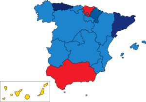 Spanish regional elections, 2011 - Image: Spain Region Map Regional Control 2011