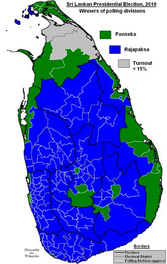 Mahinda Rajapaksa - Sri Lankan Presidential Election 2010 – Winners of Districts