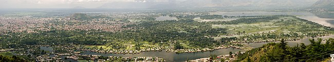 Panoramic view of Dal Lake and the city of Srinagar in Srinigar District.