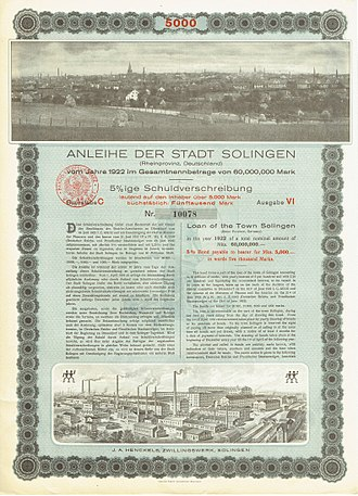 Solingen - Bond of the City of Solingen, issued 1. July 1922