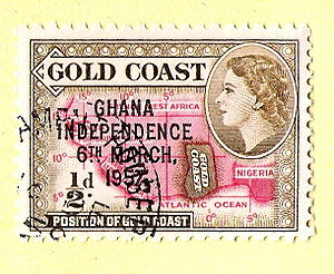 Queen of Ghana - Queen Elizabeth II in profile on a stamp from the Gold Coast overprinted for Ghanaian independence, 1957