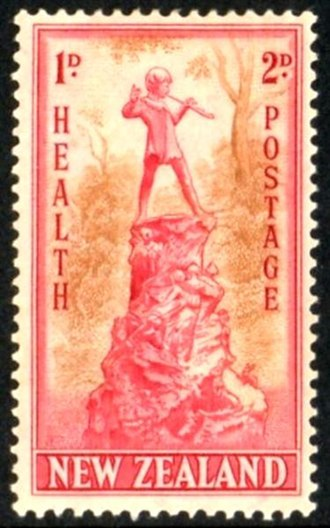 """Semi-postal stamp - A 1945 New Zealand """"Health"""" stamp charging 2 pence for postage and a premium of 1 penny for charity."""