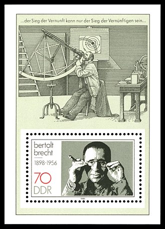 Bertolt Brecht - Stamp from the former East Germany depicting Brecht and a scene from his Life of Galileo