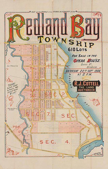 Real estate map of the unsold allotments of the Redland Bay township, 1888 StateLibQld 2 262800 Estate Map of the unsold allotments of the Redland Bay township, Queensland, 1888.jpg