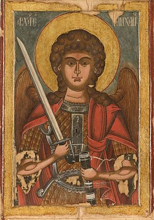 Stavropoleos Monastery - Icon of Archangel Michael (1756) in the collection of the monastery. He is one of the patron saints of the church.
