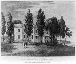 John Stevens (inventor) - 1808 engraving of John Stevens estate, Castle Point, Hoboken. Currently the site of Stevens Institute of Technology.
