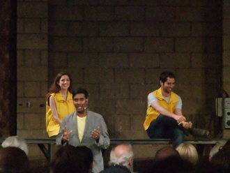 Helikopter-Streichquartett - Moderator DJ Nihal introduces members of the Elysian Quartet (Laura Moody, cello, Vincent Sipprell, viola) before a performance on 23 August 2012, as part of the Birmingham Opera production of Mittwoch aus Licht at the Argyle Works, Digbeth, Birmingham