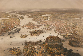Panorama over Stockholm around 1868 as seen from a hot air balloon. Stockholm panorama 1868.jpg