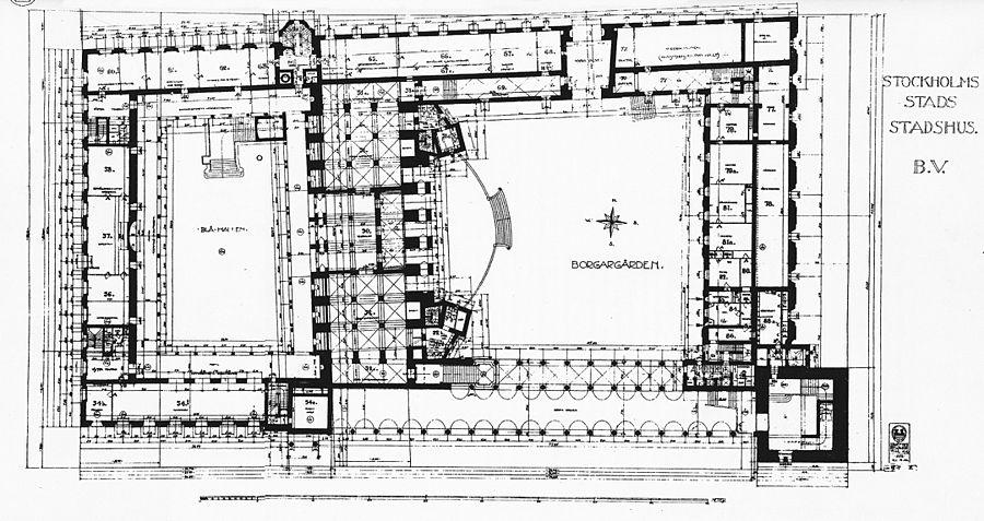 Stockholms Stadshus, plantegning, 1916. jpg