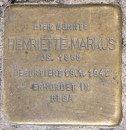Photo of Henriette Markus brass plaque