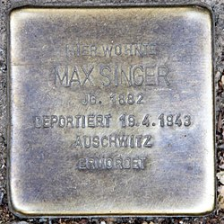 Photo of Max Singer brass plaque