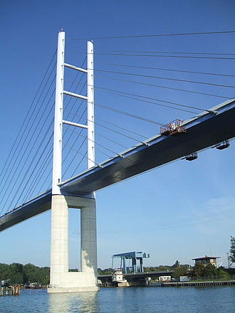 Strelasund Crossing - New Rügen Bridge and the old drawbridge