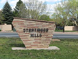 Ths sign for the Stratmoor Hills subdivision in Stratmoor.