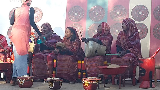 Sudanese female musicians in a traditional festival or wedding celebration Sudanese Music.jpg