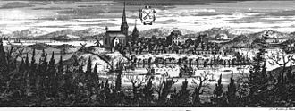Luleå - An engraving of Luleå New Town from Suecia Antiqua et Hodierna. The most prominent buildings are the church and the town hall.