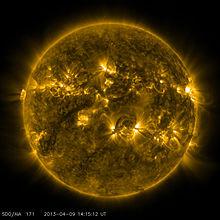 Солнце Википедия Снимок Солнца 9 апреля 2013 года Иллюстрация nasa sdo