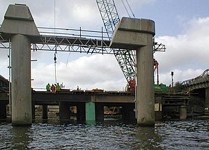 Surtees Bridge - The old Surtees Bridge partially cut away and removed