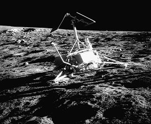 Surveyor 3 on the moon, photographed by Alan Bean