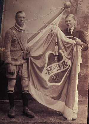 Halmstads BK - Charles Teodor Hansson (left) in early uniform and Axel Winberg (right)