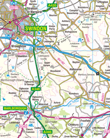 An Ordnance Survey map showing parts of Wiltshire including Swindon and Marlborough