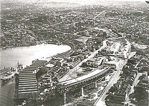 Milsons Point, New South Wales - Aerial view of Milsons Point during construction of the Sydney Harbour Bridge.