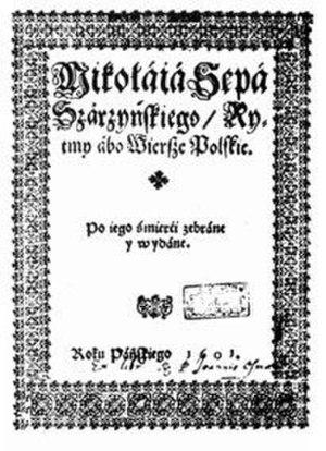 Mikołaj Sęp Szarzyński - Cover of Rytmy abo wiersze polskie (Rhythms) from 1601