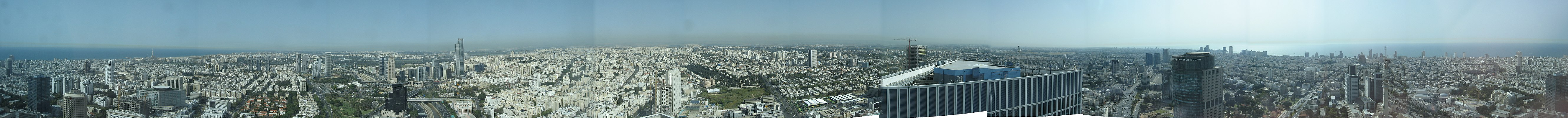 Panoramic View of Tel Aviv from the observation deck of the circle Azrieli Tower.