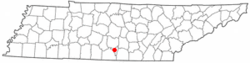 Location of Lynchburg, Tennessee